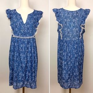 NWT Umgee Blue Dress with Lace Trim